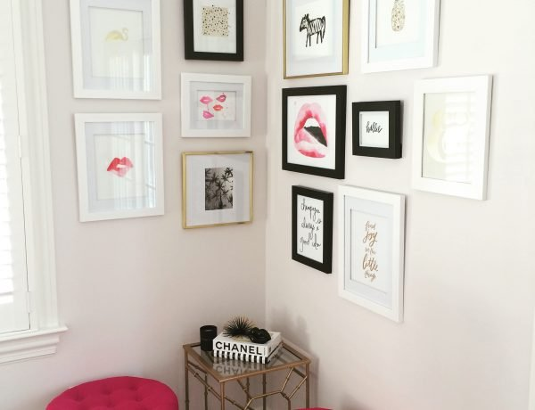 Pink, white and black gallery wall